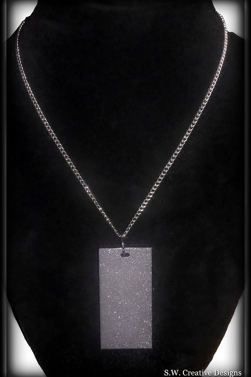 S.W Reflextion Black Shimmer Pendant and Necklace. Glows in the Dark Jewelry