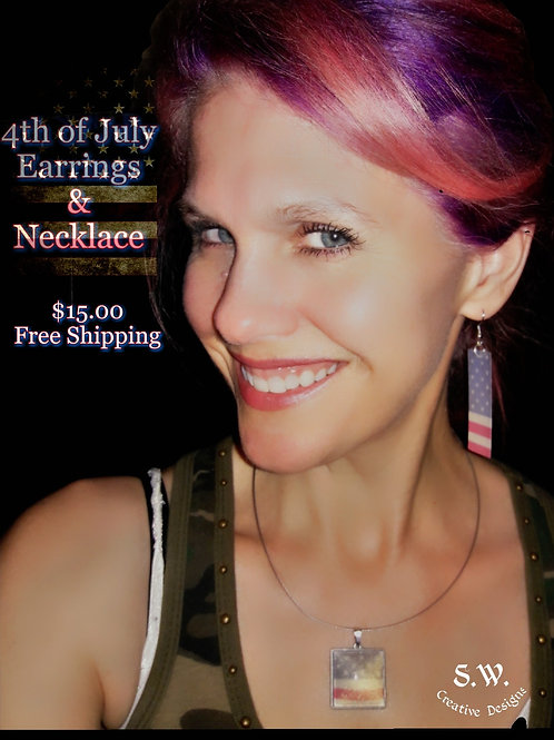 Stars and Stripes Pendant and Earrings Set