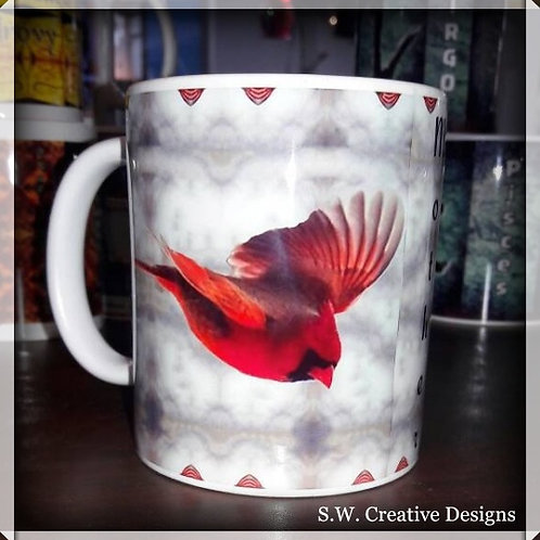 PS Coffee Cup with a picture of a cardinal and S.W. Mother Poem