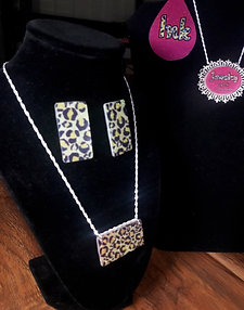 Ink It Jewelry Rectangle Necklace & Earrings