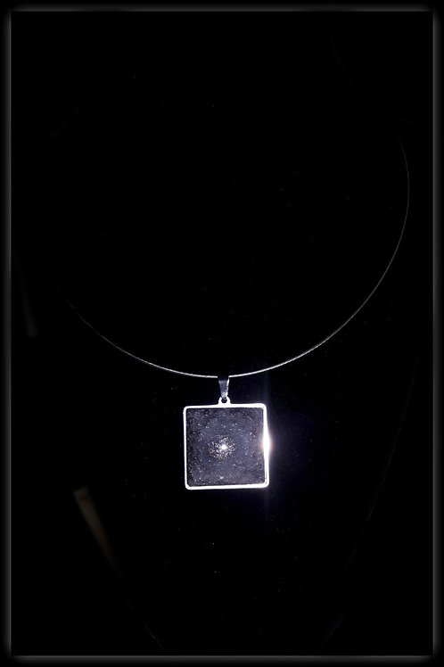S.W. Eclipse Crackle Square Pendant and Necklace