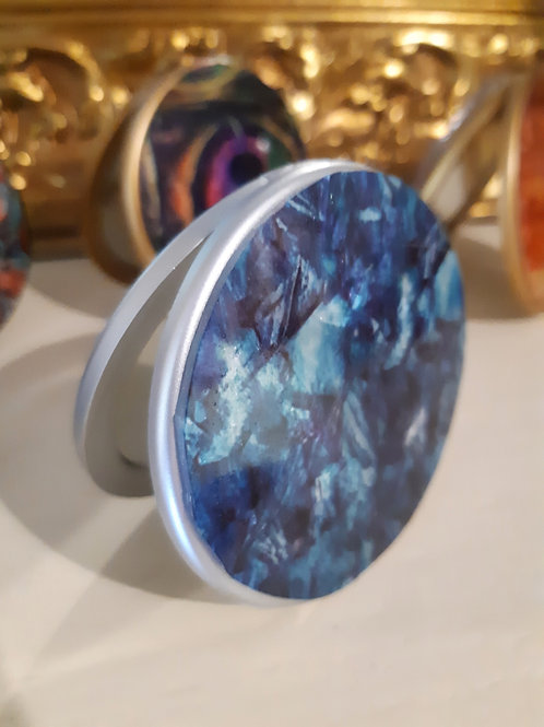 Blue Glass Compact Mirror