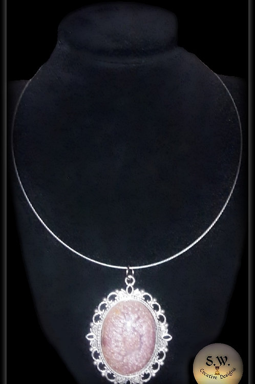 S.W. Sands of Time Oval Crackle Pendant and Necklace.