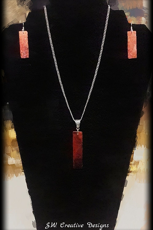 S.W. Flaming Desire Necklace and Earrings Set
