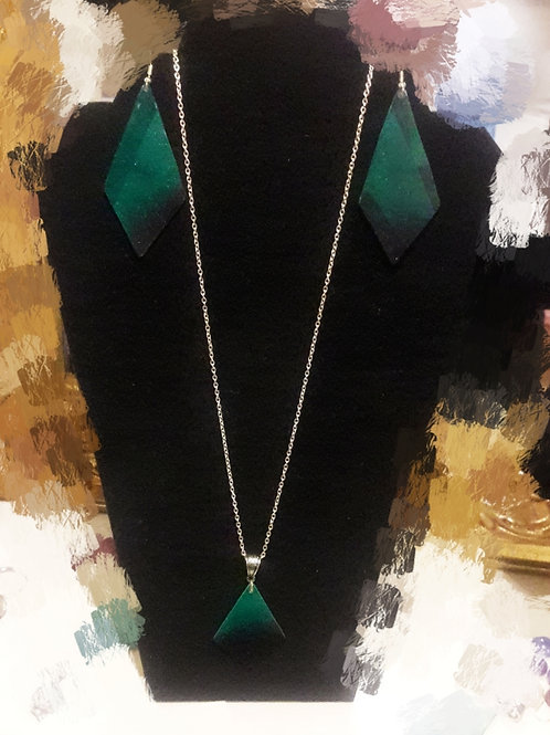 Enchanced Forrest Chriset Stone Earrings and Necklace Set