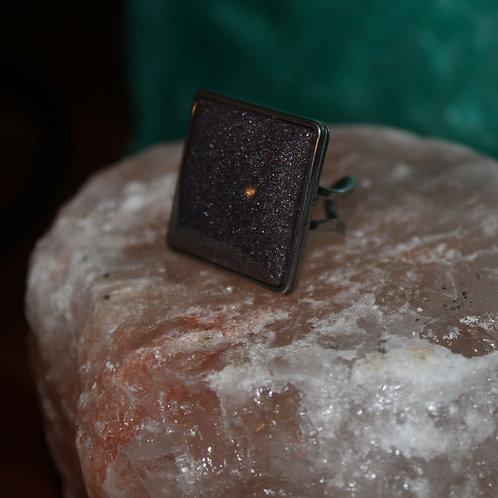 Black Shimmer Silver Ring