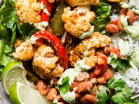 Vegetarian Burrito Bowl with Avocado Crema