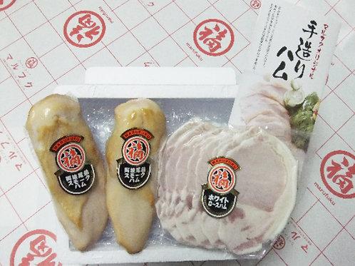 ホワイトロースハムスライス150g×1パック、阿波尾鶏スモークハム200g×2本入り