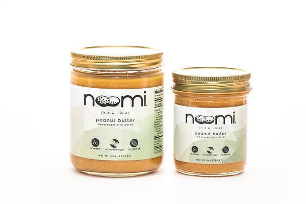 Noomi organic peanut butter, 8oz and 16oz jars