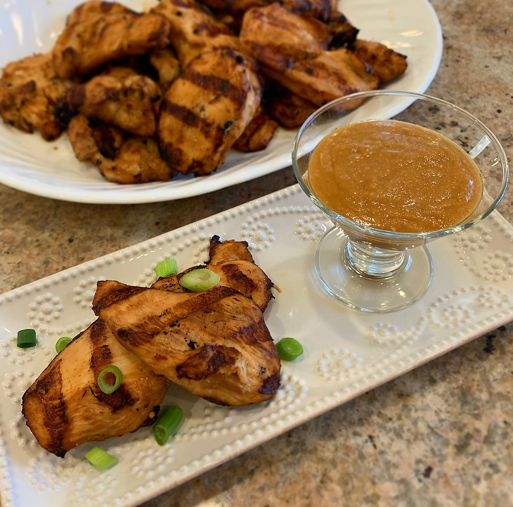 Grilled Sriracha-Soy Chicken with Thai Peanut Butter Dipping Sauce