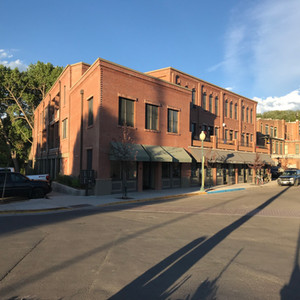 Mixed use neighborhood, residential and commercial buildings.