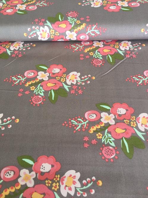 Coton brun à fleurs