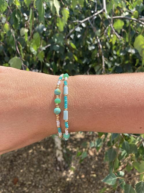 Bracelet 2 rangs turquoise