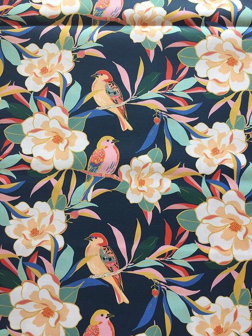 Coton - oiseaux - bleu