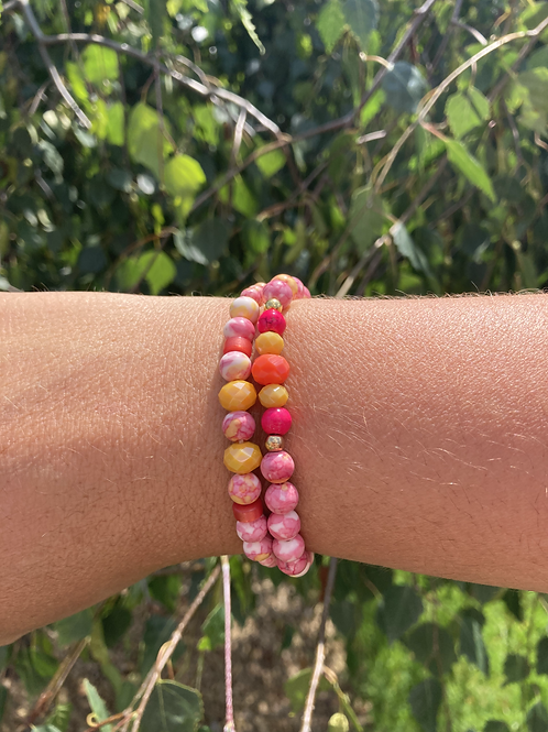bracelet rose et jaune