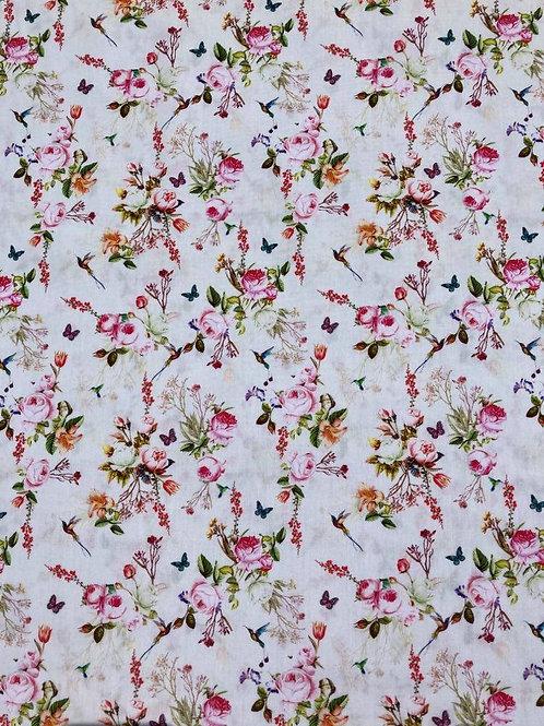 Coton fleurs et papillons