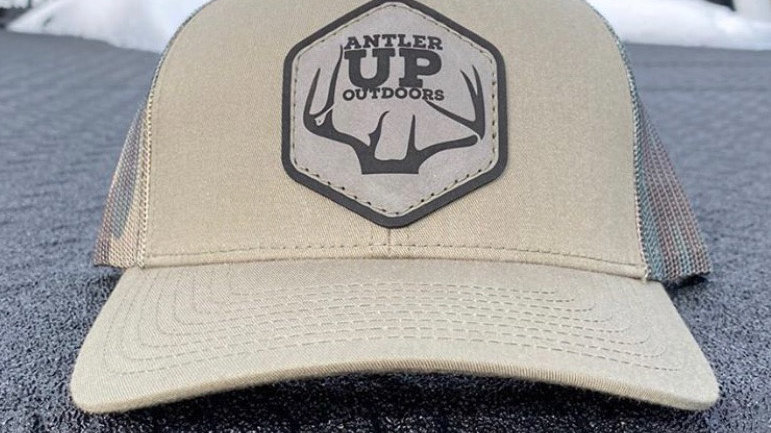 Antler Up Leather Patch Hat-Loden/Camo