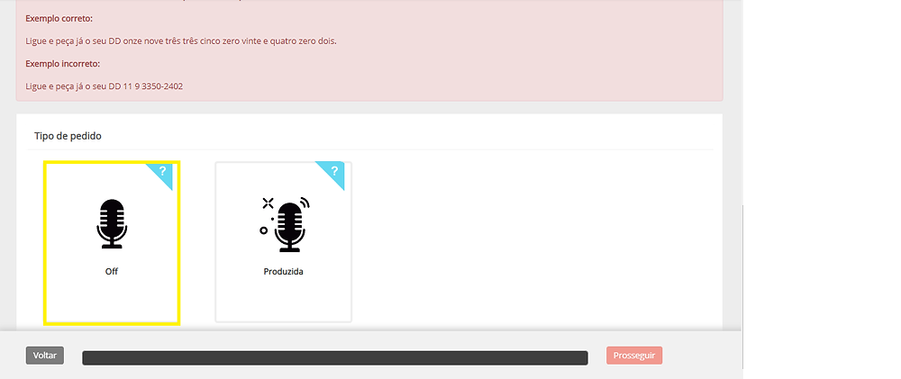 Aqui mostra a opção de solicitar o áudio em off