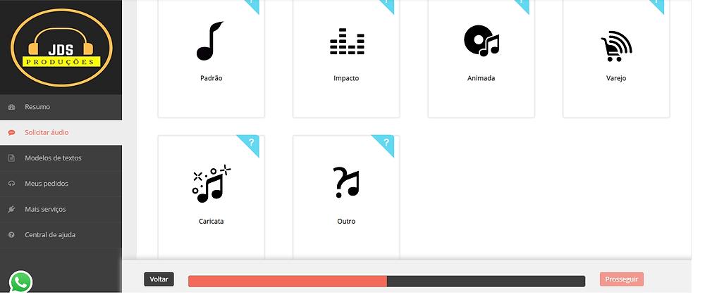 Essa imagem mostra todas as opções de estilo de gravação de áudio