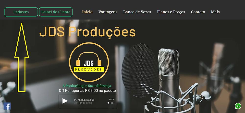 Essa imagem mostra o botão de cadastro do site JDS Produções