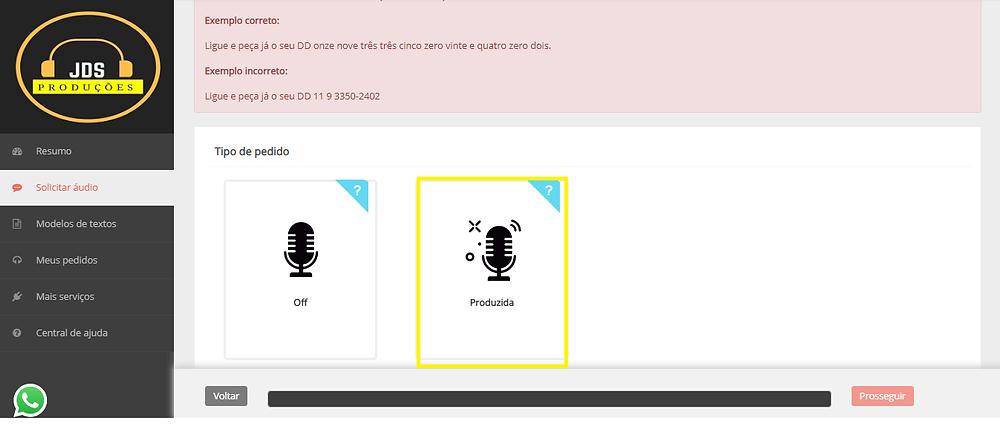Essa imagem mostra onde clicar para solicitar o audio produzido