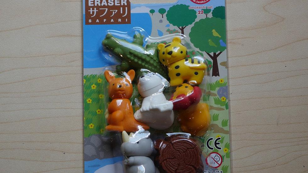 Iwako Safari Animals Eraser Pack (7ct)