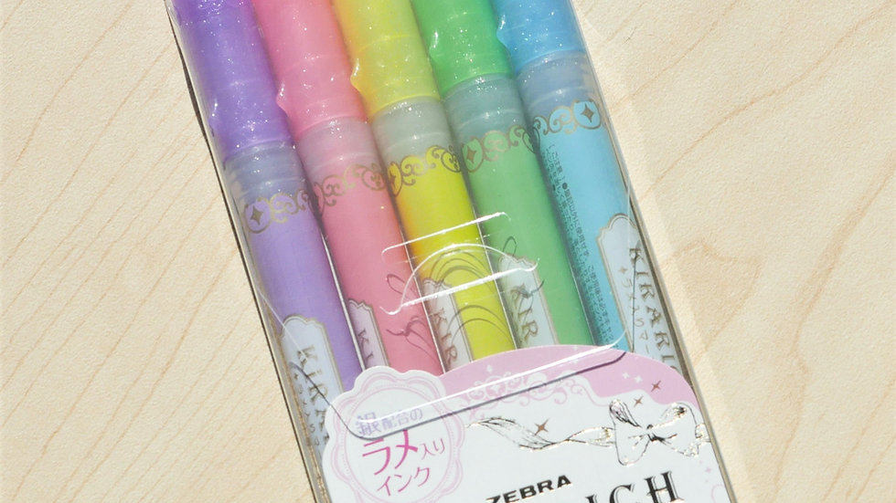 Zebra Kirarich Glitter Highlighter Pack
