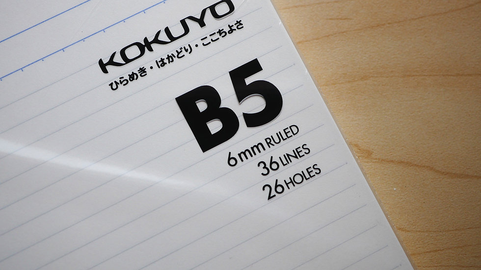 Kokuyo Campus Loose Leaf Paper- Sarasara (B5) and Dotted 6mm Ruled