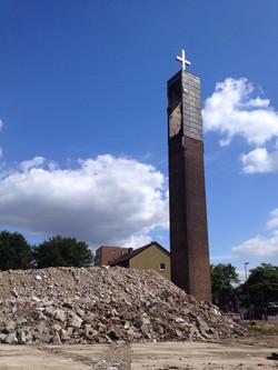 Abbrucharbeiten Kirchturm