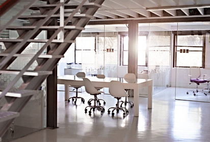 Gorgeous Office w Glass Wall Partitians