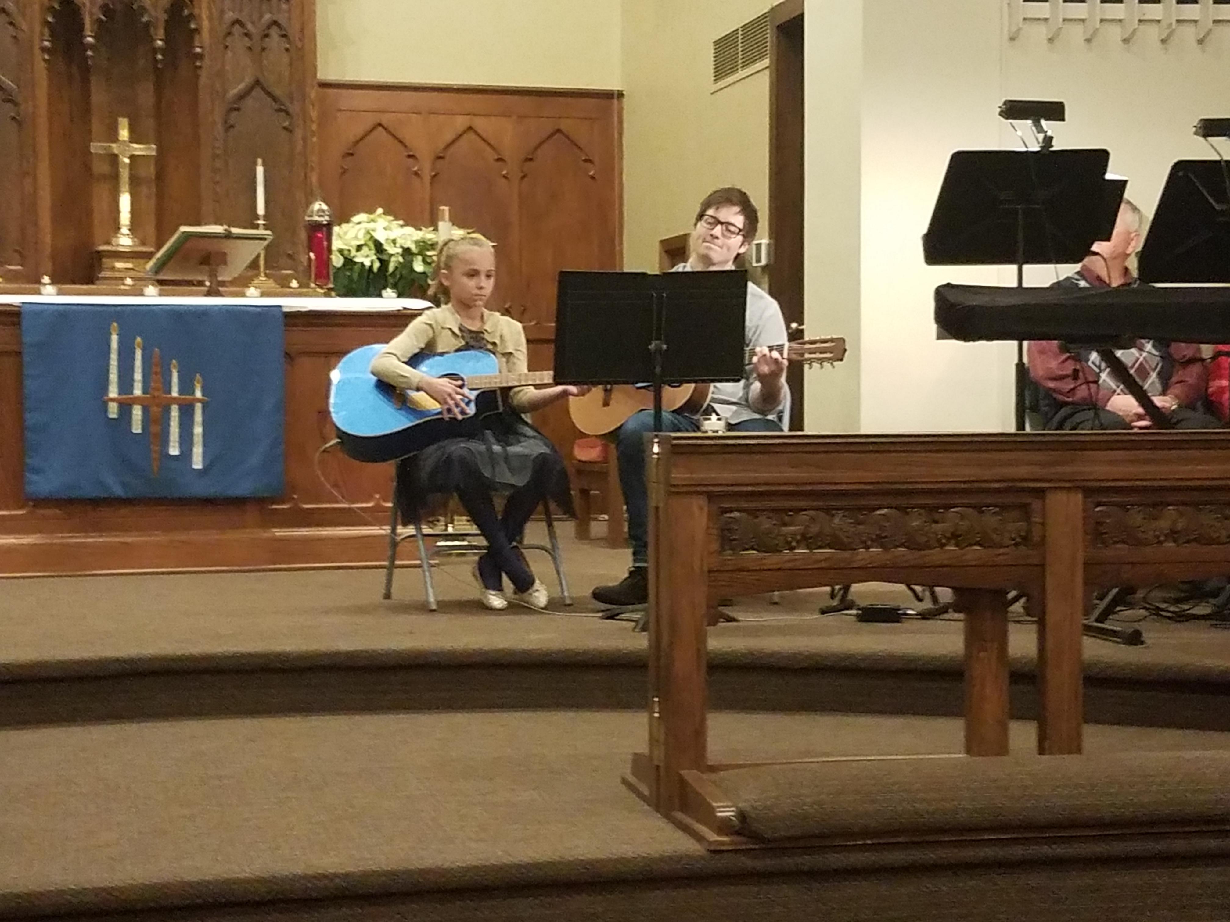 Molly on Guitar at Christmas Worship