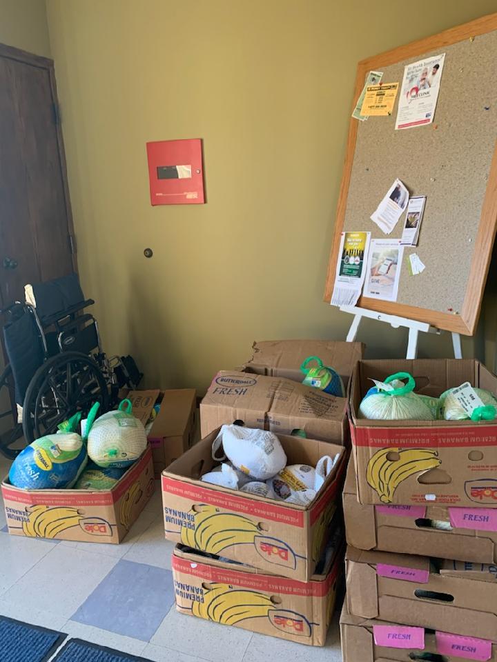 Thanksgiving basket distribution