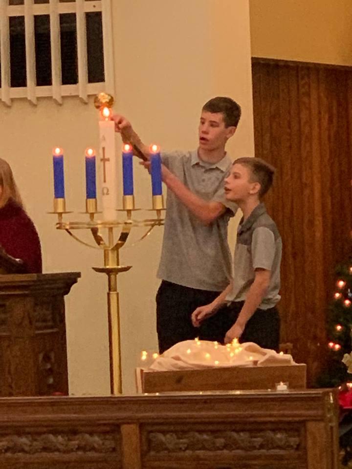 Christmas candle lighting