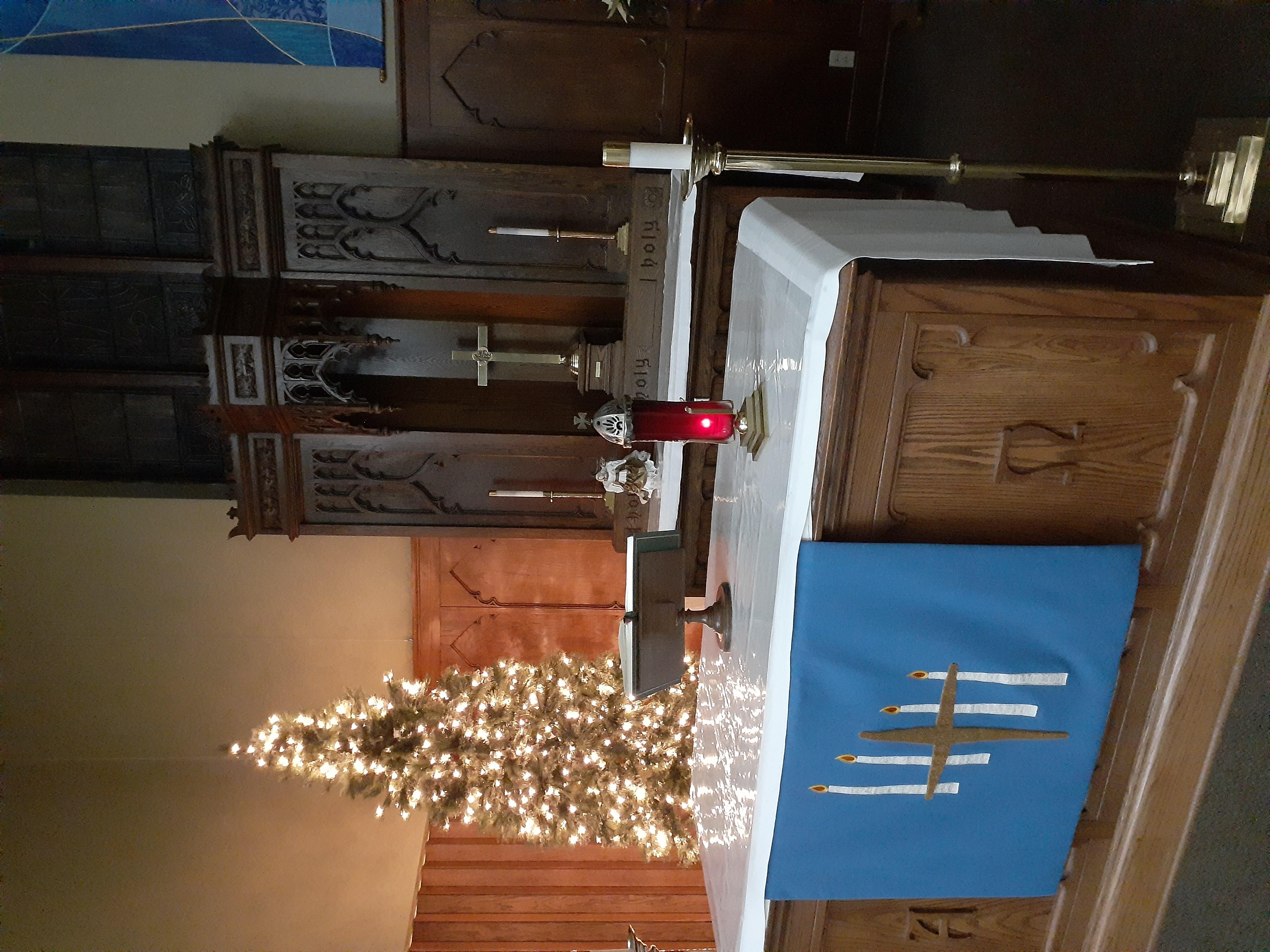 lighted tree at altar 2