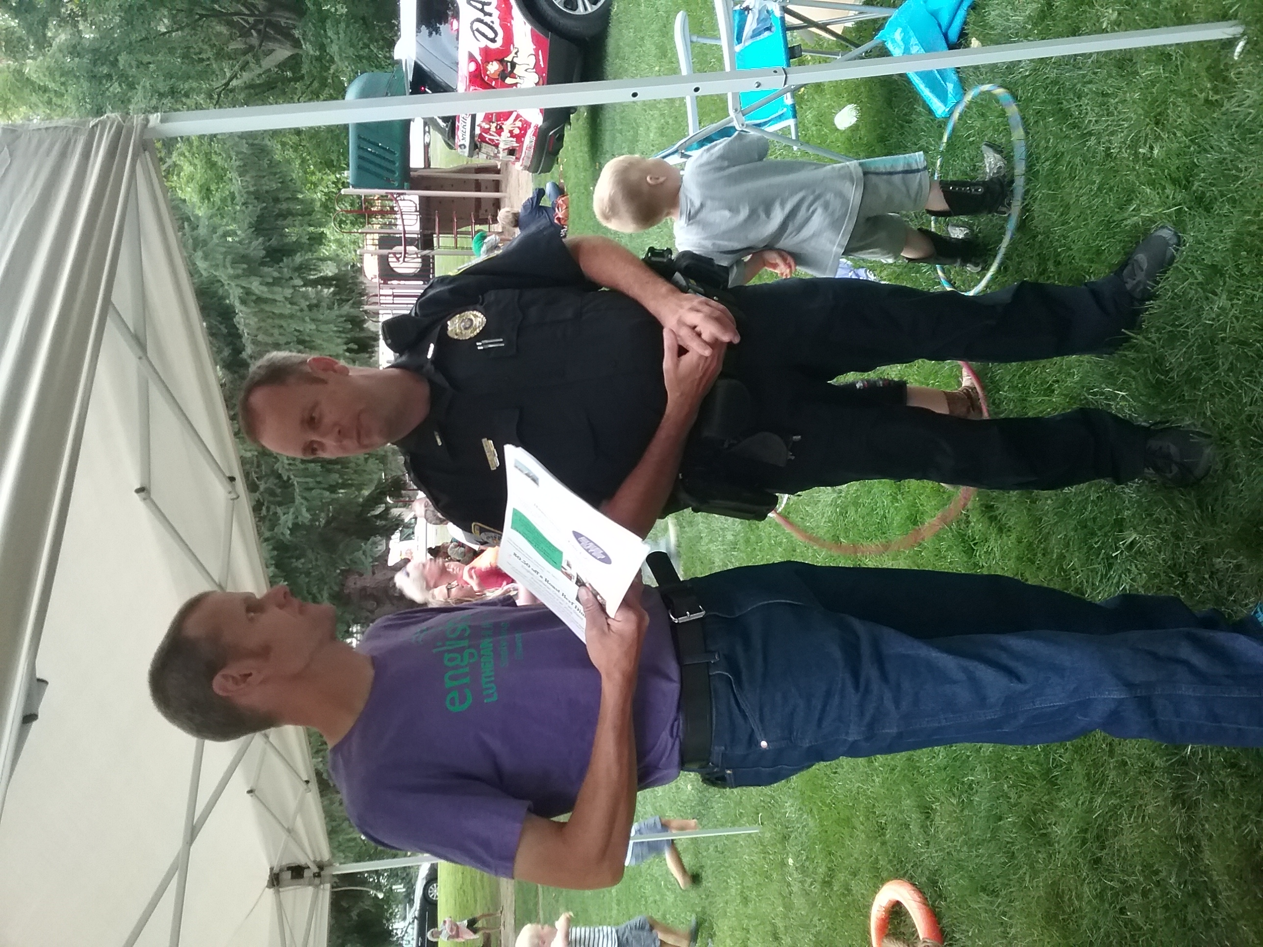 talking with police chief at NNO