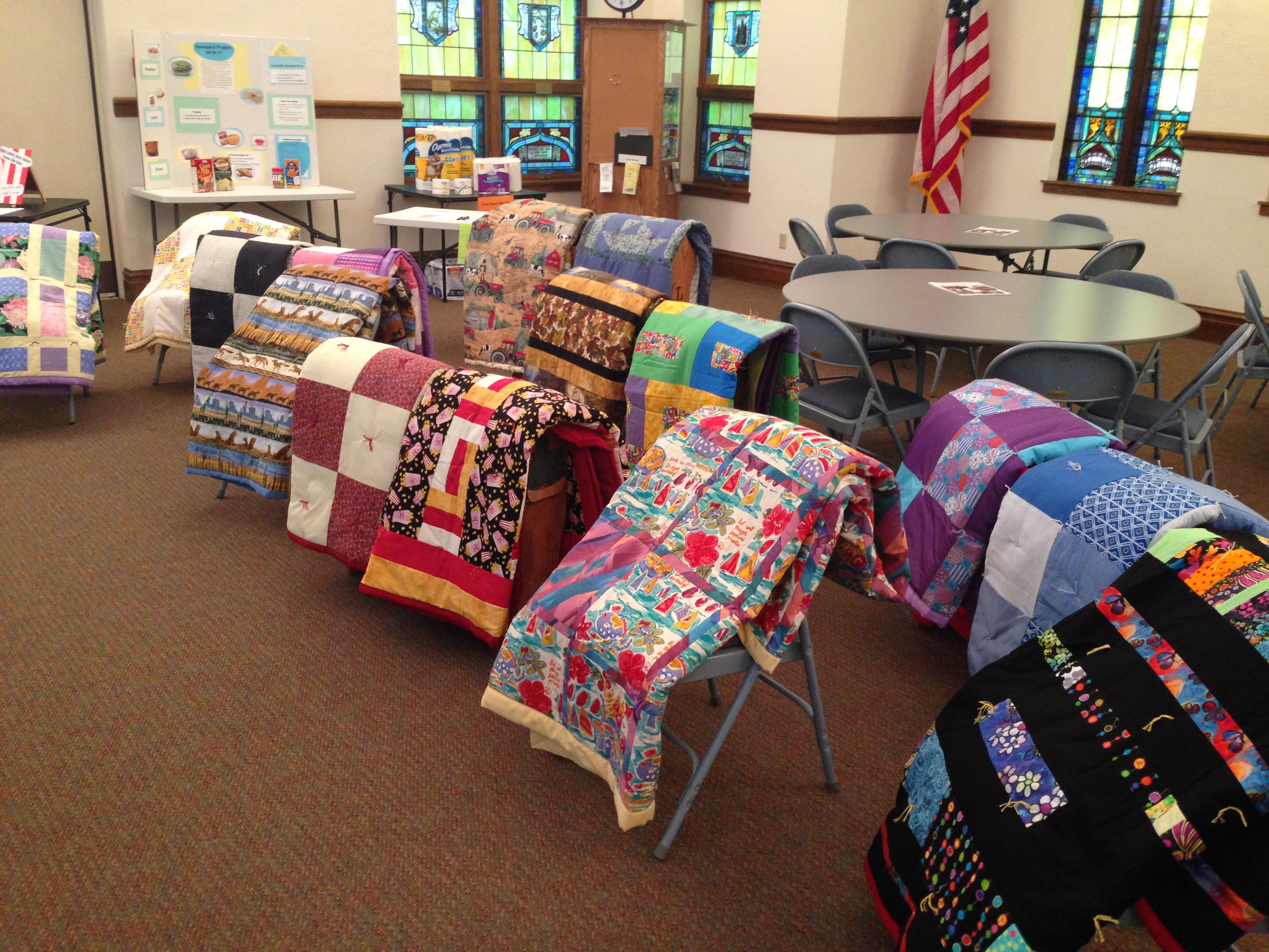 grad quilts displayed