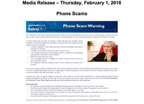 Be Alert for Phone Scams