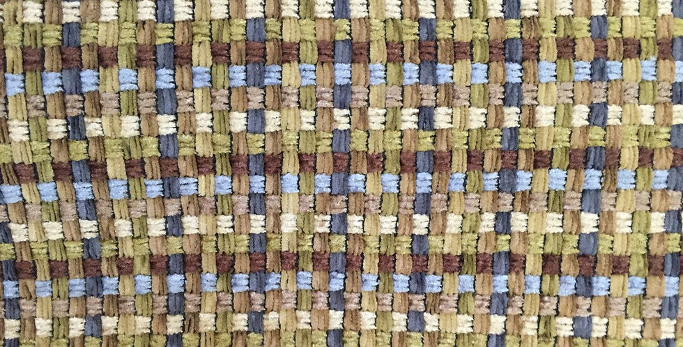 Basket Weave - Blue, Green, Light Browns, and Cream