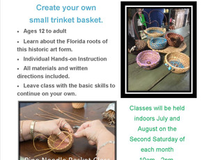 August 10th Pine Needle Basket Classes: Register now!
