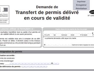 Quels sont les conditions du transfert de permis de construire?