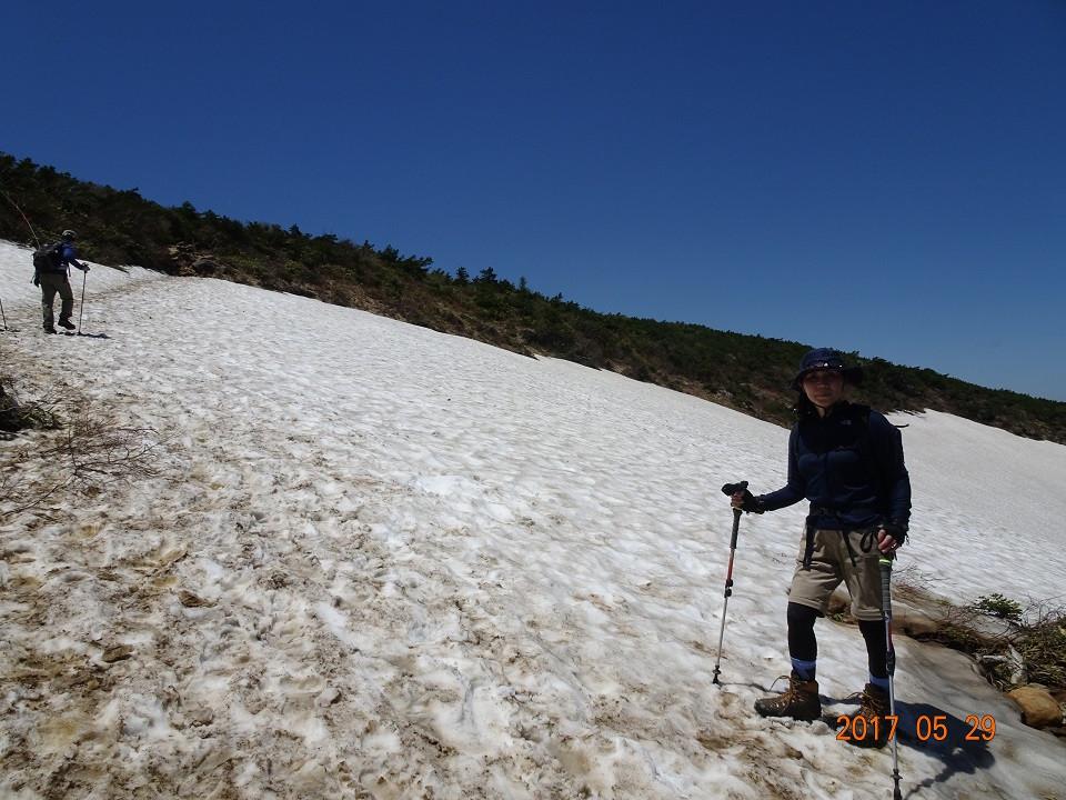 山頂直下の雪渓を行く