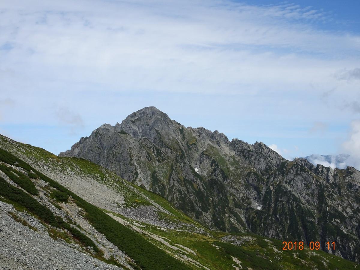 別山乗越から剣岳を望む