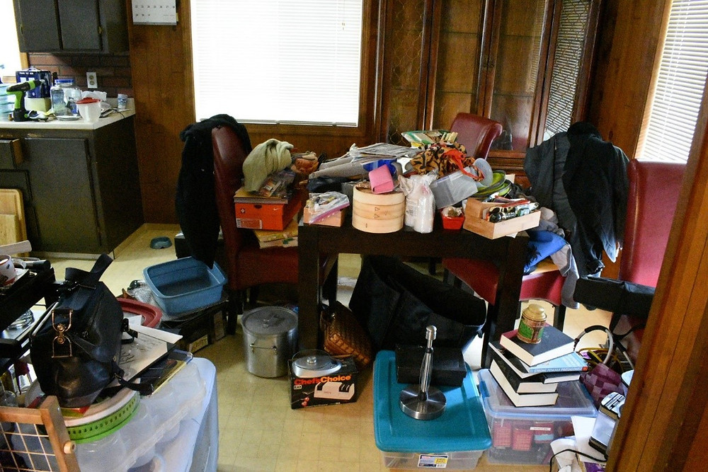 Our stuff spread all over the dining room and kitchen