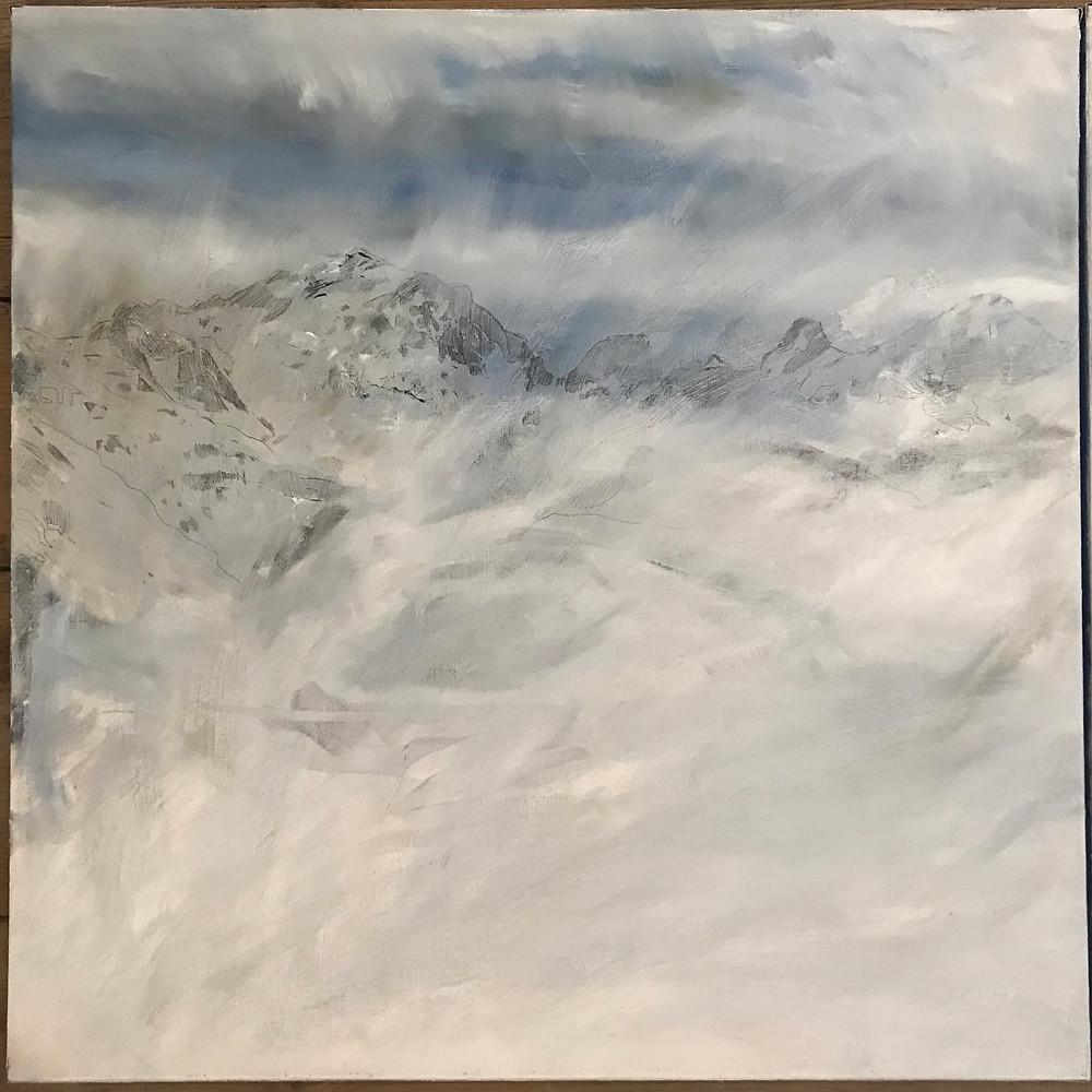 montagne peinture en cours 60x60 x2