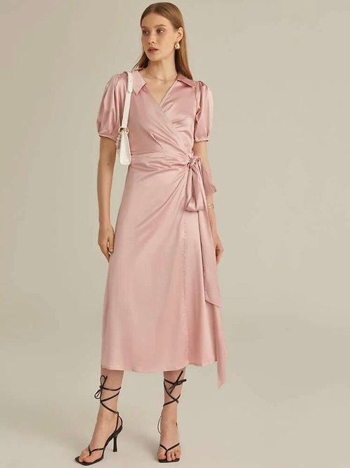 Vestido cruzado de satén diseñador