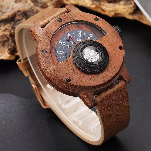 Reloj de madera con brújula - Bambú natural