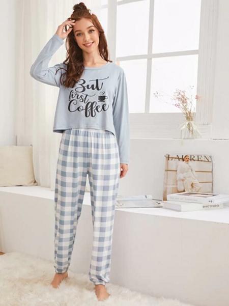 Conjunto De Pijama Con Estampado De Letra Y Guingán