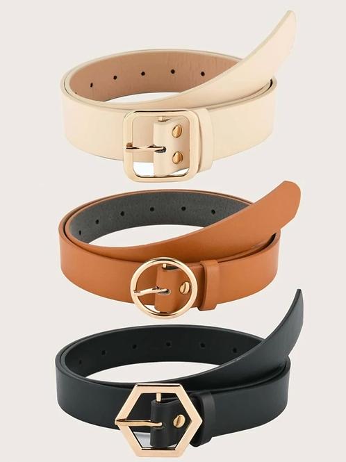 3 piezas cinturón con hebilla