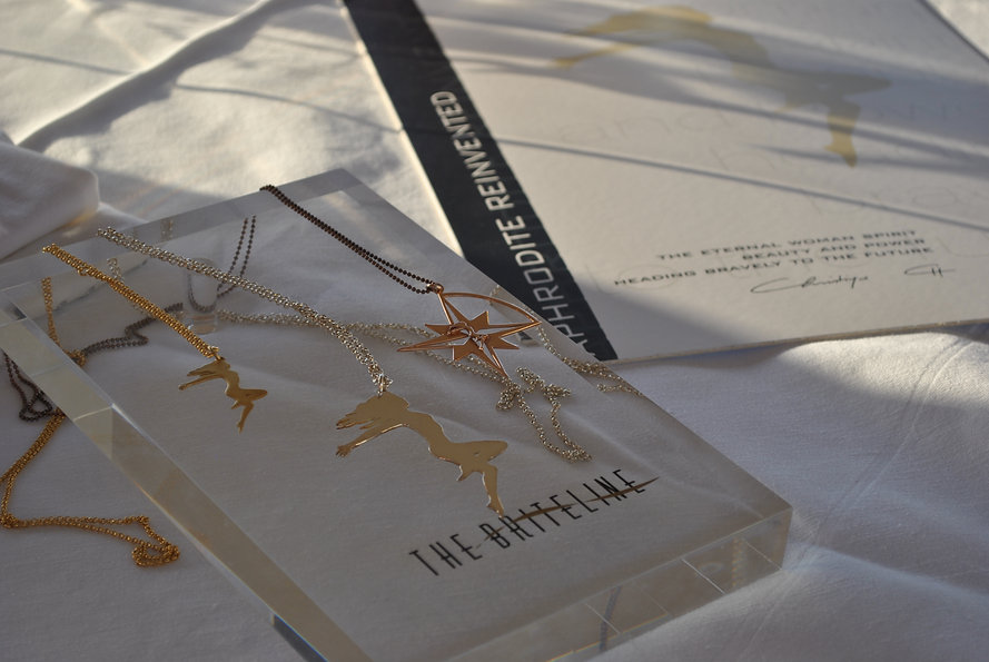 """THE BRITELINE is a multifaceted, Artistic Fashion Concept, promoting a """"State of Mind"""" rather than a material lifestyle.THE BRITELINE initial collections are based on the concept """"APHRODITE REINVENTED"""" which is definedas""""The Eternal Woman Spirit, Beauty and Power heading Bravely to the Future""""."""
