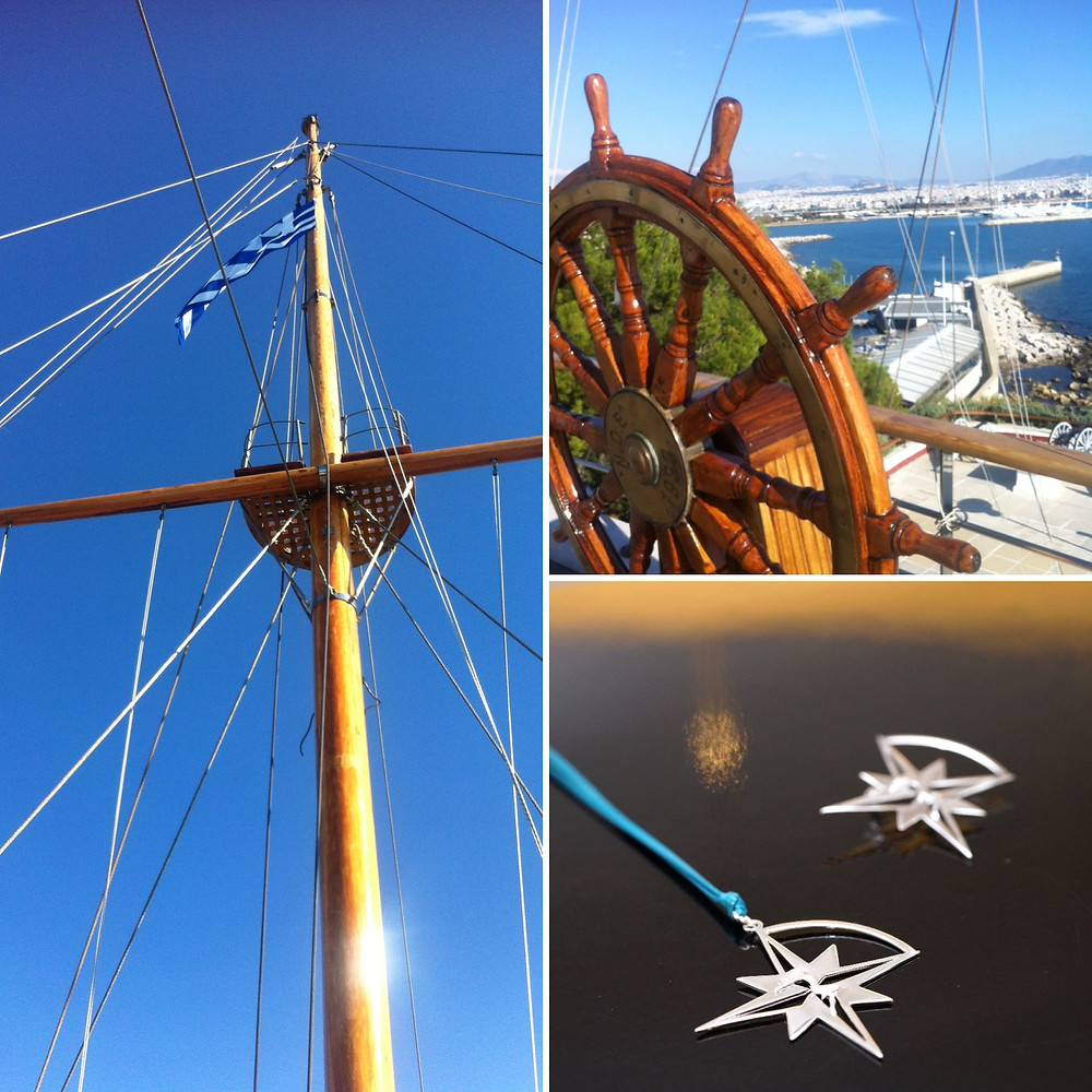 """Views from the historic Yacht Club of Greece - Compass Star Pendant and Brooch """"Let The Star Guide You"""" by THE BRITELINE®"""